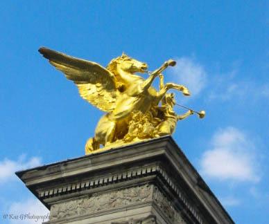 Gold Statue Pont Alexandra III Paris